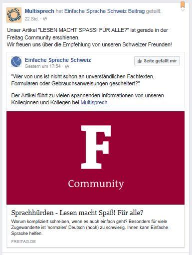 Einfache Sprache Schweiz zu Artikel Freitag 15.7.16