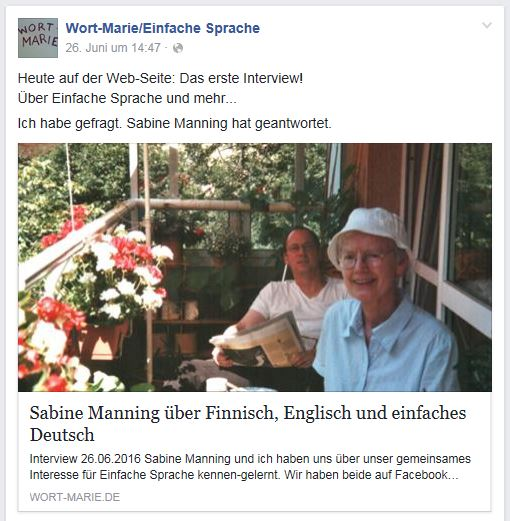 Wort-Marie Interview Facebook 26.6.16